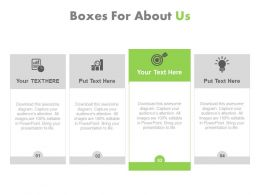 Four Text Boxes For About Us Powerpoint Slides