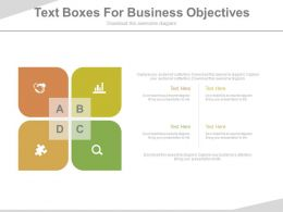 Four Text Boxes For Business Objectives Flat Powerpoint Design