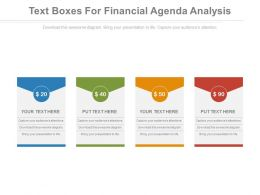 Four Text Boxes For Financial Agenda Analysis Powerpoint Slides