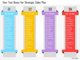 Four Text Boxes For Strategic Sales Plan Flat Powerpoint Design