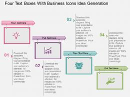 Four Text Boxes With Business Icons Idea Generation Flat Powerpoint Design