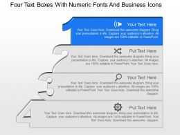 Four Text Boxes With Numeric Fonts And Business Icons Powerpoint Template Slide