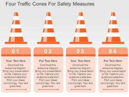 Four Traffic Cones For Safety Measures Flat Powerpoint Design