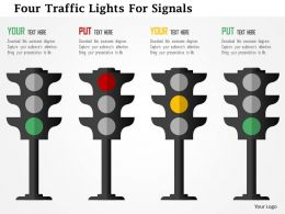 Four Traffic Lights For Signals Flat Powerpoint Design