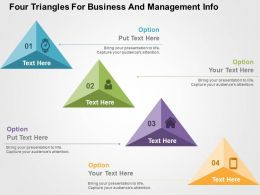 Four Triangles For Business And Management Info Flat Powerpoint Design