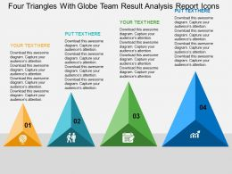 Four Triangles With Globe Team Result Analysis Report Icons Flat Powerpoint Design