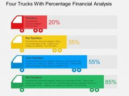Four Trucks With Percentage Financial Analysis Flat Powerpoint Design