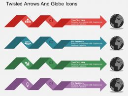 Four Twisted Arrows And Globe Icons Ppt Presentation Slides