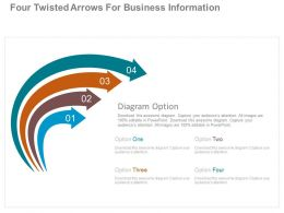 Four Twisted Arrows For Business Information Powerpoint Slides
