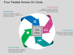 Four Twisted Arrows On Circle Flat Powerpoint Design