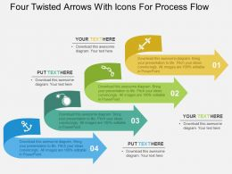 Four Twisted Arrows With Icons For Process Flow Flat Powerpoint Design
