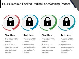 Four Unlocked Locked Padlock Showcasing Phases