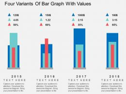 Four Variants Of Bar Graph With Values Flat Powerpoint Design