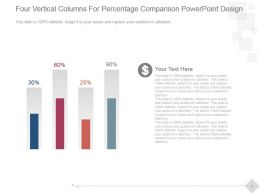 Four Vertical Columns For Percentage Comparison Powerpoint Design
