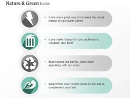 Four Vertical Green Energy Symbols Editable Icons