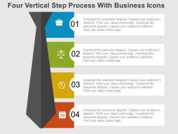 Four Vertical Step Process With Business Icons Flat Powerpoint Design