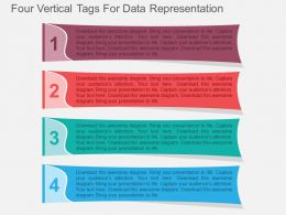 Four Vertical Tags For Data Representation Flat Powerpoint Design