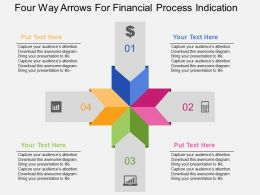 Four Way Arrows For Financial Process Indication Flat Powerpoint Design