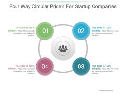 Four Way Circular Pricess For Startup Companies Powerpoint Slide Show