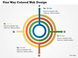 Four Way Colored Web Design Flat Powerpoint Design