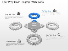 Four Way Gear Diagram With Icons Powerpoint Template Slide