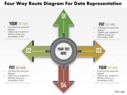 Four Way Route Diagram For Data Representation Powerpoint Template