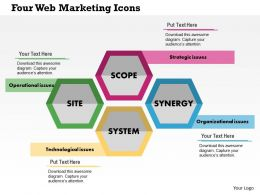 Four Web Marketing Icons Flat Powerpoint Design