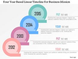 Four Year Based Linear Timeline For Business Mission Flat Powerpoint Design