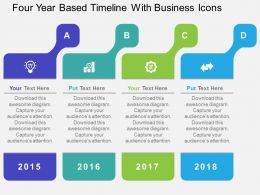 Four Year Based Timeline With Business Icons Flat Powerpoint Design