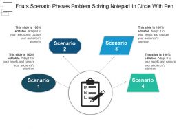 Fours Scenario Phases Problem Solving Notepad In Circle With Pen