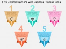 fp Five Colored Banners With Business Process Icons Flat Powerpoint Design
