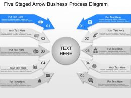 fp Five Staged Arrow Business Process Diagram Powerpoint Template