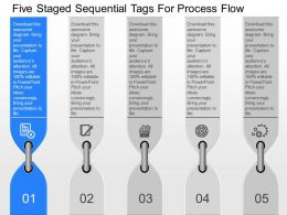 fp Five Staged Sequential Tags For Process Flow Powerpoint Template
