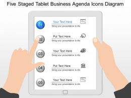 fp Five Staged Tablet Business Agenda Icons Diagram Powerpoint Template