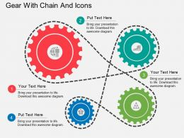 Fp Gear With Chain And Icons Flat Powerpoint Design