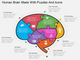 fp Human Brain Made With Puzzles And Icons Flat Powerpoint Design
