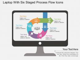 Fp Laptop With Six Staged Process Flow Icons Flat Powerpoint Design