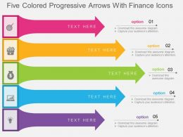 fq Five Colored Progressive Arrows With Finance Icons Flat Powerpoint Design