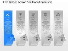fq Five Staged Arrows And Icons Leadership Powerpoint Template