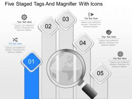 fq Five Staged Tags And Magnifier With Icons Powerpoint Template
