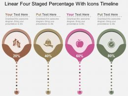 Fq Linear Four Staged Percentage With Icons Timeline Flat Powerpoint Design