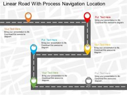 Fq Linear Road With Process Navigation Location Flat Powerpoint Design