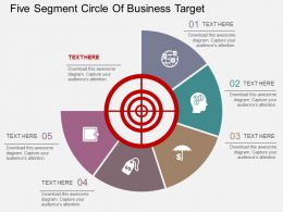 fr Five Segment Circle Of Business Target Flat Powerpoint Design
