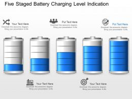 fr Five Staged Battery Charging Level Indication Powerpoint Template
