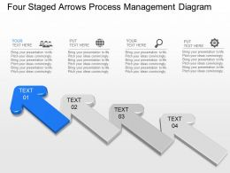fr Four Staged Arrows Process Management Diagram Powerpoint Template