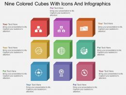 Fr Nine Colored Cubes With Icons And Infographics Flat Powerpoint Design