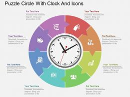 Fr Puzzle Circle With Clock And Icons Flat Powerpoint Design