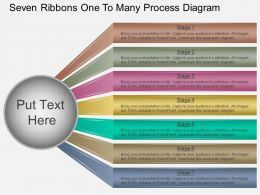 Fr Seven Ribbons One To Many Process Diagram Powerpoint Template