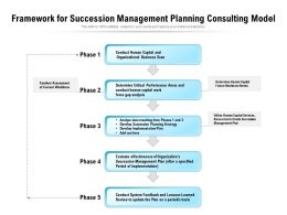 Framework For Succession Management Planning Consulting Model