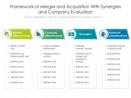 Framework Of Merger And Acquisition With Synergies And Company Evaluation